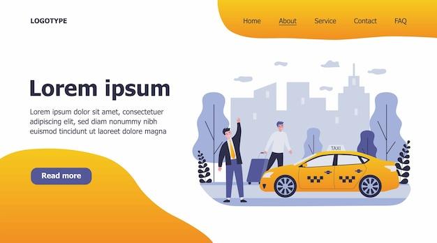 Szczęśliwy biznesmen taksówką ilustrację