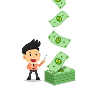 Szczęśliwy biznesmen z pieniędzy banknotów gotówki spadać
