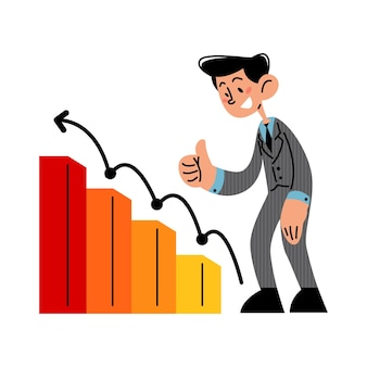 Szczęśliwy biznesmen z rosnącym wykresem biznesowym