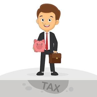 Szczęśliwy biznesmen z różową świnką płaci podatki w dniu podatkowym