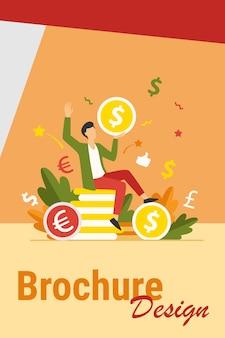 Szczęśliwy biznesmen zarabianie pieniędzy płaska ilustracja wektorowa. kreskówka milioner lub bankier trzyma ogromną monetę. wzrost finansów i koncepcja rynku