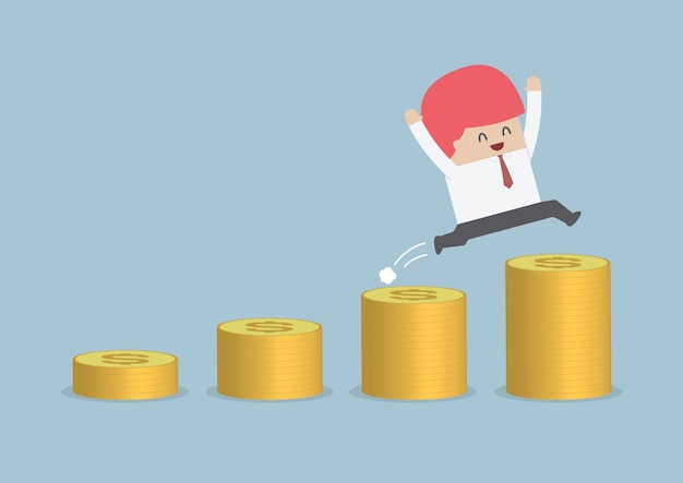 Szczęśliwy biznesmena doskakiwanie na pieniądze kroku
