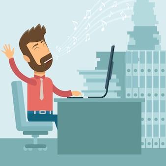 Szczęśliwy biznesmena śpiew w biurze