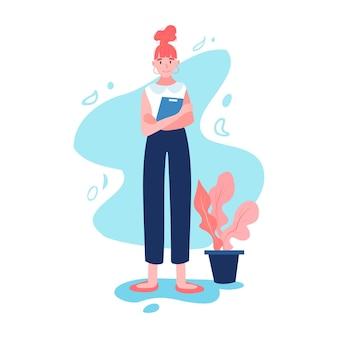Szczęśliwy bizneswoman w pełnej wysokości. ona trzyma biurko. staromodne ubrania z nowoczesną fryzurą. płaskie ilustracja kreskówka na białym tle.
