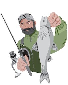 Szczęśliwy brodaty rybak trzyma jego wędkę i ryba. na sobie zielony sweter
