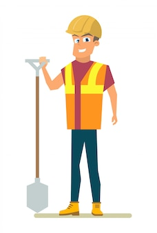 Szczęśliwy budowniczy z łopatą w ręka mieszkania wektorze