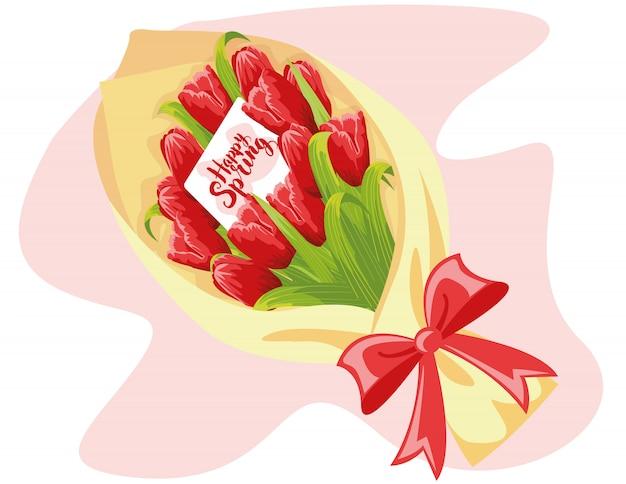 Szczęśliwy bukiet kwiatów tulipanów wiosna