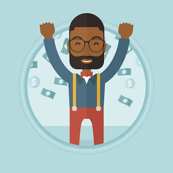 Szczęśliwy busiessman pod deszcz pieniędzy