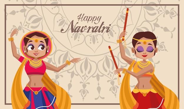Szczęśliwy celebracja navratri i kobieta tańczy