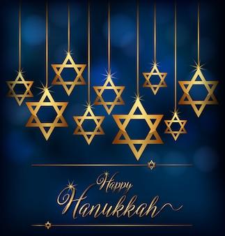 Szczęśliwy chanuka z symbolem gwiazdy żydów