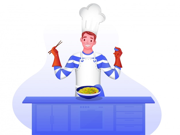 Szczęśliwy charakter szefa kuchni.
