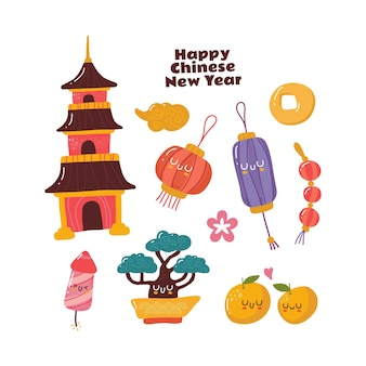 Szczęśliwy chiński doodle kawaii ładny