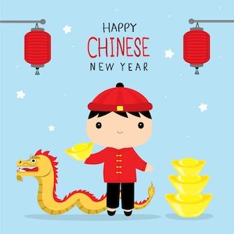 Szczęśliwy chiński nowy rok 2019 dzieci chłopiec kreskówki wektor