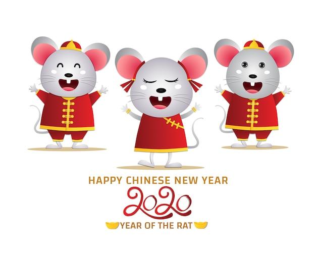 Szczęśliwy chiński nowy rok 2020 rok zodiaku szczurów