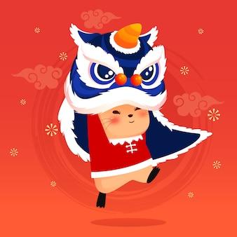 Szczęśliwy chiński nowy rok 2020 z głową lwa taniec