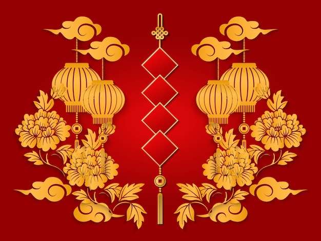 Szczęśliwy chiński nowy rok retro złota ulga piwonia kwiat latarnia chmura i wiosna dwuwiersz