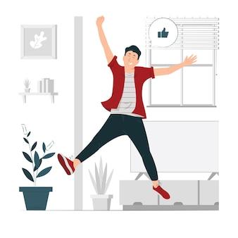 Szczęśliwy chłopiec, człowiek skaczący z ilustracji koncepcji radości
