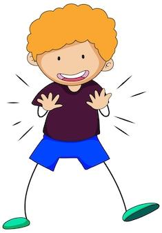 Szczęśliwy chłopiec doodle kreskówka na białym tle