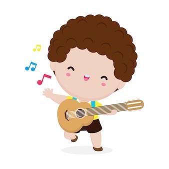 Szczęśliwy chłopiec dziecko gra na gitarze. przedstawienie muzyczne. na białym tle ilustracja na białym tle. w stylu kreskówki