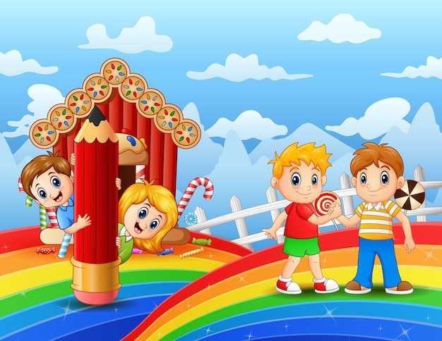 Szczęśliwy chłopiec gra w słodkiej ziemi ilustracji