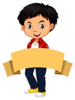 Szczęśliwy chłopiec i brązowy sztandar