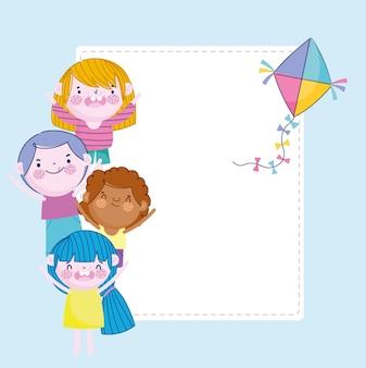 Szczęśliwy chłopiec i dziewczynka karta dekoracji latawca, ilustracja dzieci