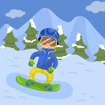 Szczęśliwy chłopiec jazda na snowboardzie w górach w zima sezonu wakacyjnego ilustraci