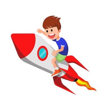 Szczęśliwy chłopiec lecący na rakiecie i podekscytowany