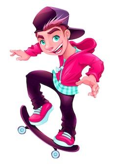 Szczęśliwy chłopiec łyżwiarka cartoon wektor odizolowane znaków