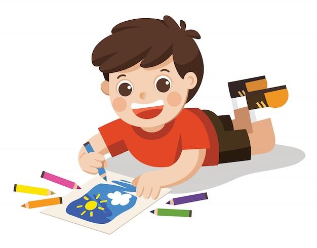 Szczęśliwy chłopiec rysować obrazki ołówki i farby na piętrze. na białym tle wektor.