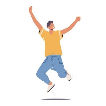 Szczęśliwy chłopiec skacze z podniesionymi rękoma, męski charakter odczuwający pozytywne emocje, radość, zwycięstwo lub sukces. nastolatek dobry nastrój śmiejąc się na białym tle. ilustracja wektorowa kreskówka ludzie