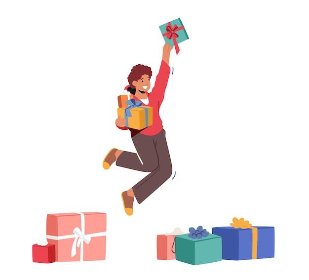 Szczęśliwy chłopiec skoki z prezentem w ręce, radosne dziecko dostał wiele prezentów na urodziny lub święto bożego narodzenia na białym tle na białym tle. szczęście, koncepcja przyjemności. ilustracja kreskówka wektor