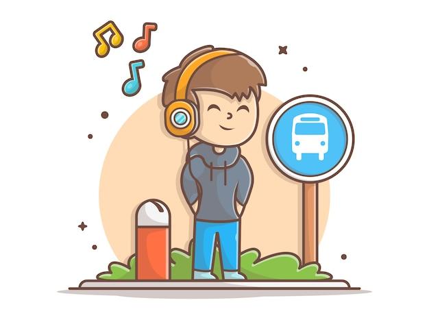 Szczęśliwy chłopiec słuchania muzyki czeka autobus z heaphone w halte vector icon iillustration. ludzie i muzyka ikona koncepcja biały na białym tle