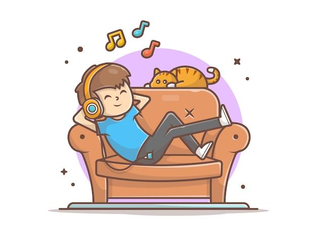 Szczęśliwy chłopiec słuchania muzyki na kanapie z ładny kot, melodię i notatki ikony muzyki biały na białym tle