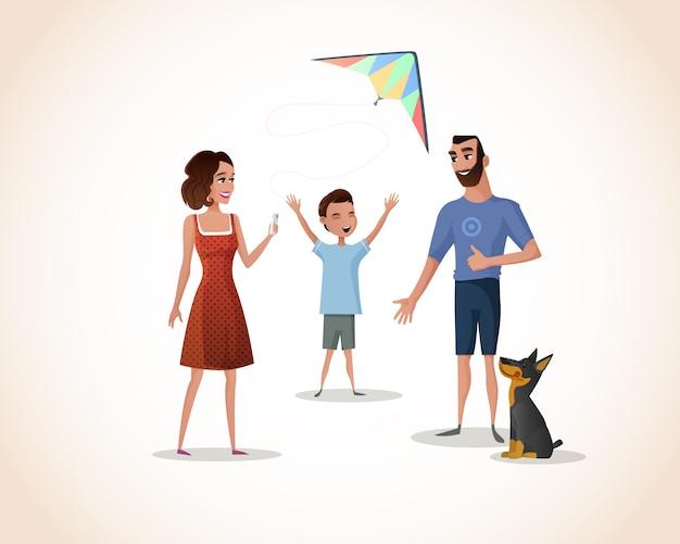 Szczęśliwy chłopiec spędza czas z rodzicami wektorowymi