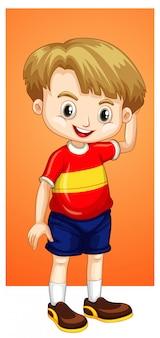 Szczęśliwy chłopiec w czerwonej koszuli