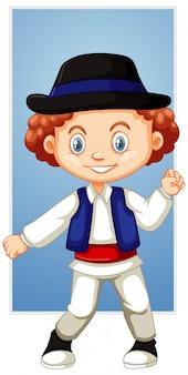 Szczęśliwy chłopiec w kapeluszu