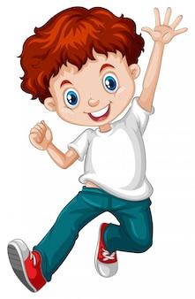 Szczęśliwy chłopiec z czerwonymi włosami na sobie niebieskie dżinsy