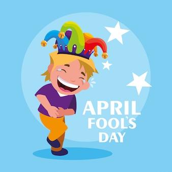Szczęśliwy chłopiec z jokera kapelusz kwietnia głupców karty dnia