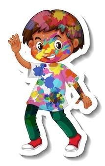 Szczęśliwy chłopiec z kolorową naklejką na ciele na białym tle