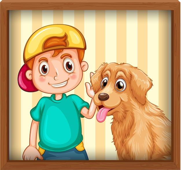 Szczęśliwy chłopiec z ramką na zdjęcia psa