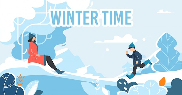 Szczęśliwy czas zimowy na boże narodzenie wakacje płaski plakat