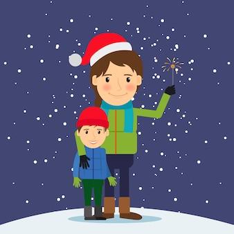 Szczęśliwy Czas Zimowy Premium Wektorów
