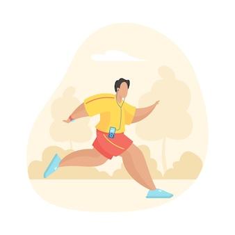 Szczęśliwy człowiek bieganie i słuchanie muzyki ze słuchawkami. męska postać z kreskówki w sportowej joggingu dla sportu na świeżym powietrzu. podstawowy aktywny, zdrowy, sportowy styl życia. płaska ilustracja wektorowa