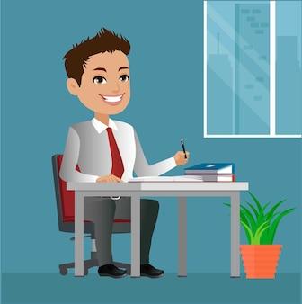 Szczęśliwy człowiek biznesu siedzi przy stole