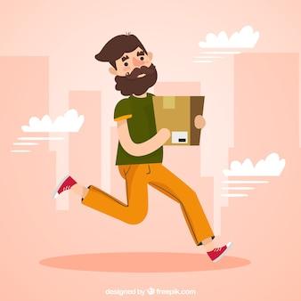 Szczęśliwy człowiek działa z kartonu