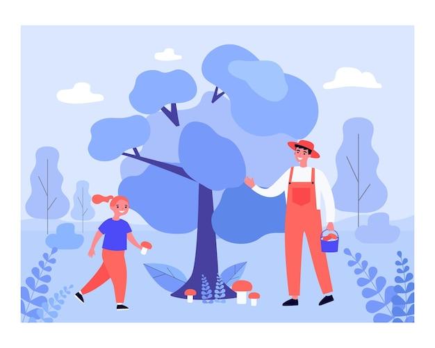 Szczęśliwy człowiek i dziewczyna zbiera grzyby. las, flora, jedzenie płaskie wektor ilustracja. aktywność na świeżym powietrzu i koncepcja natury dla banera, projektu strony internetowej lub strony docelowej