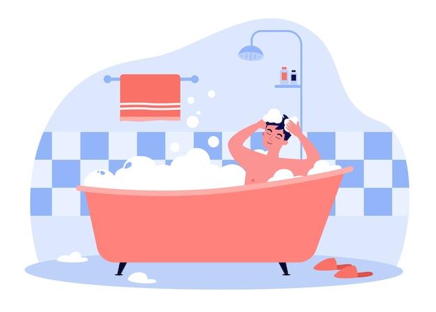 Szczęśliwy człowiek kąpieli w wannie z ilustracji pianki. postać z kreskówki do mycia głowy i włosów szamponem, mydłem, wodą. koncepcja higieny i codziennej rutyny