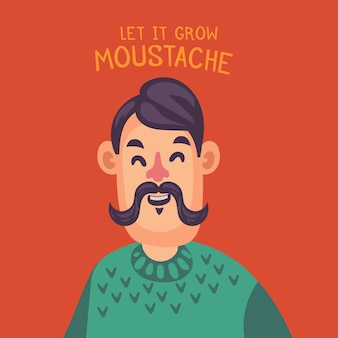 Szczęśliwy człowiek movember z wąsem