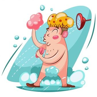 Szczęśliwy człowiek myje się pod prysznicem z pianką.